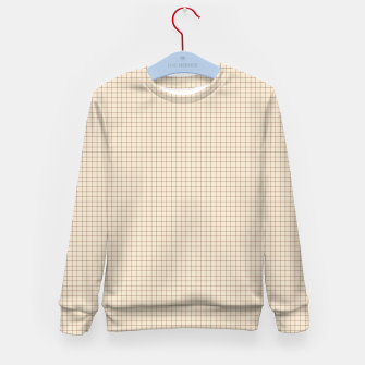 Thumbnail image of Small rust grid pattern on beige Kid's sweater, Live Heroes