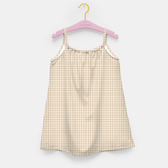 Thumbnail image of Small rust grid pattern on beige Girl's dress, Live Heroes