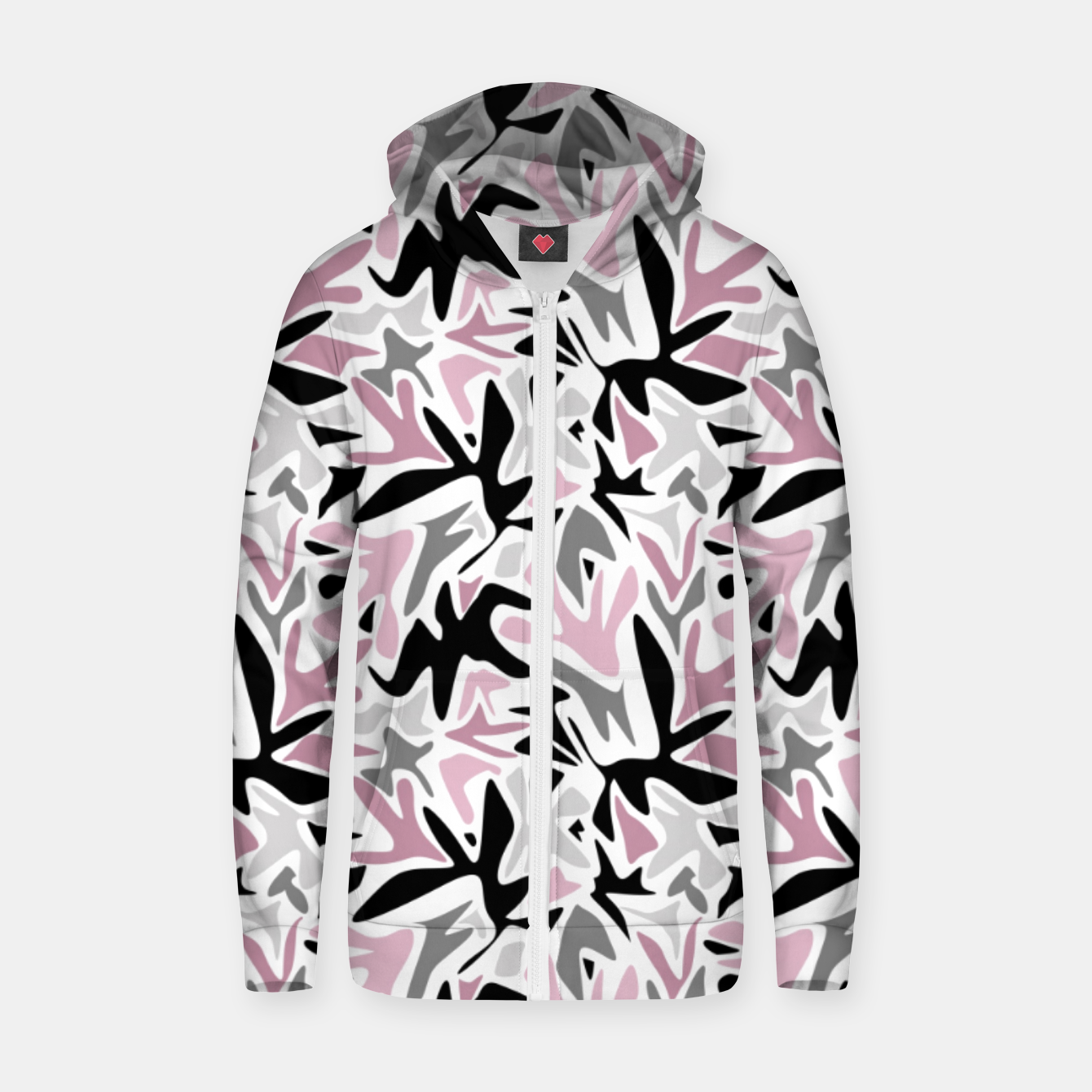 Image of abstract, daub pink, gray and pink, geometric Zip up hoodie - Live Heroes