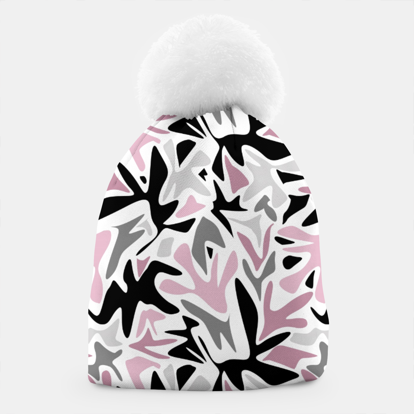Image of abstract, daub pink, gray and pink, geometric Beanie - Live Heroes