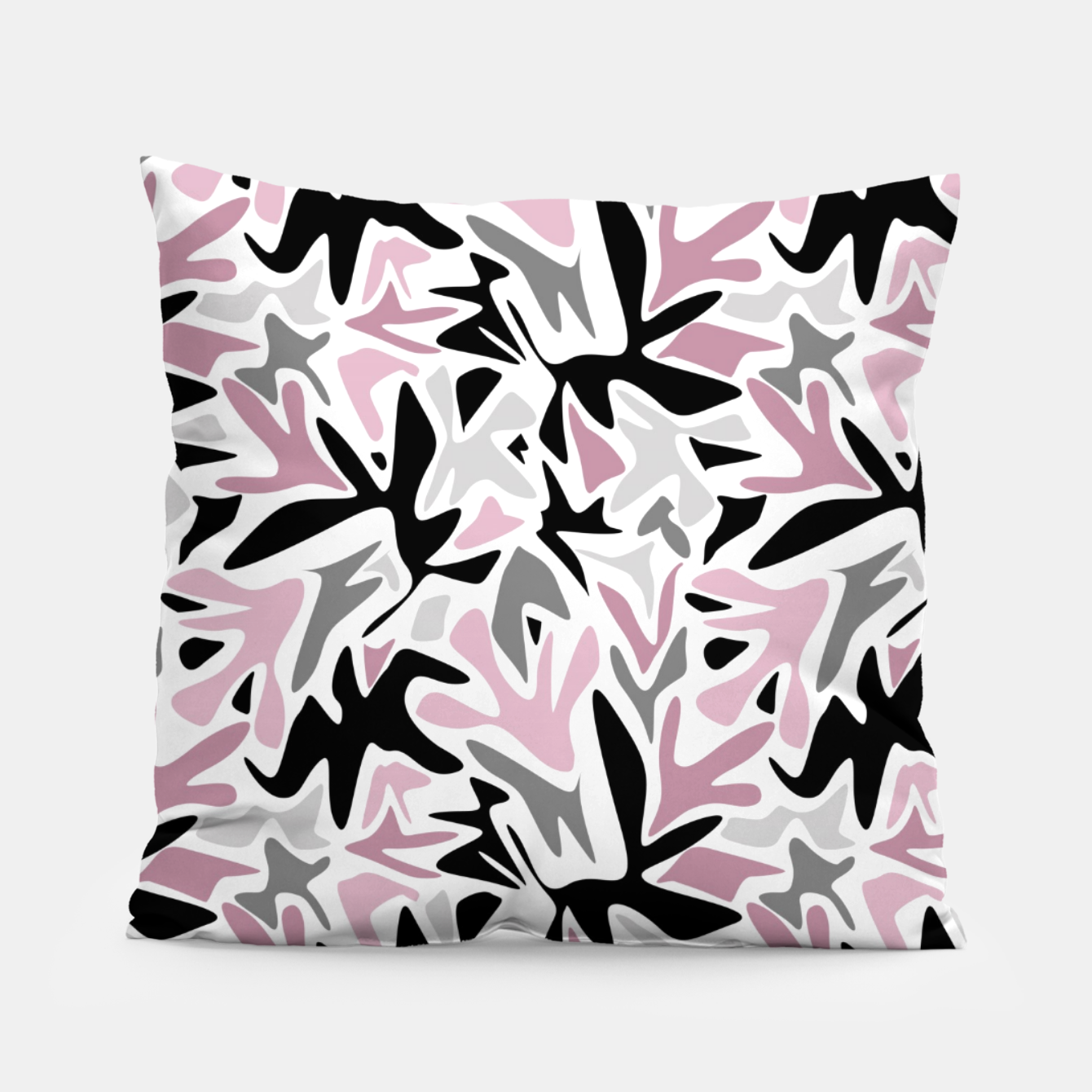 Image of abstract, daub pink, gray and pink, geometric Pillow - Live Heroes
