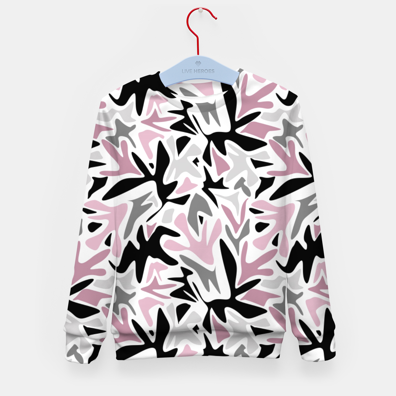 Image of abstract, daub pink, gray and pink, geometric Kid's sweater - Live Heroes