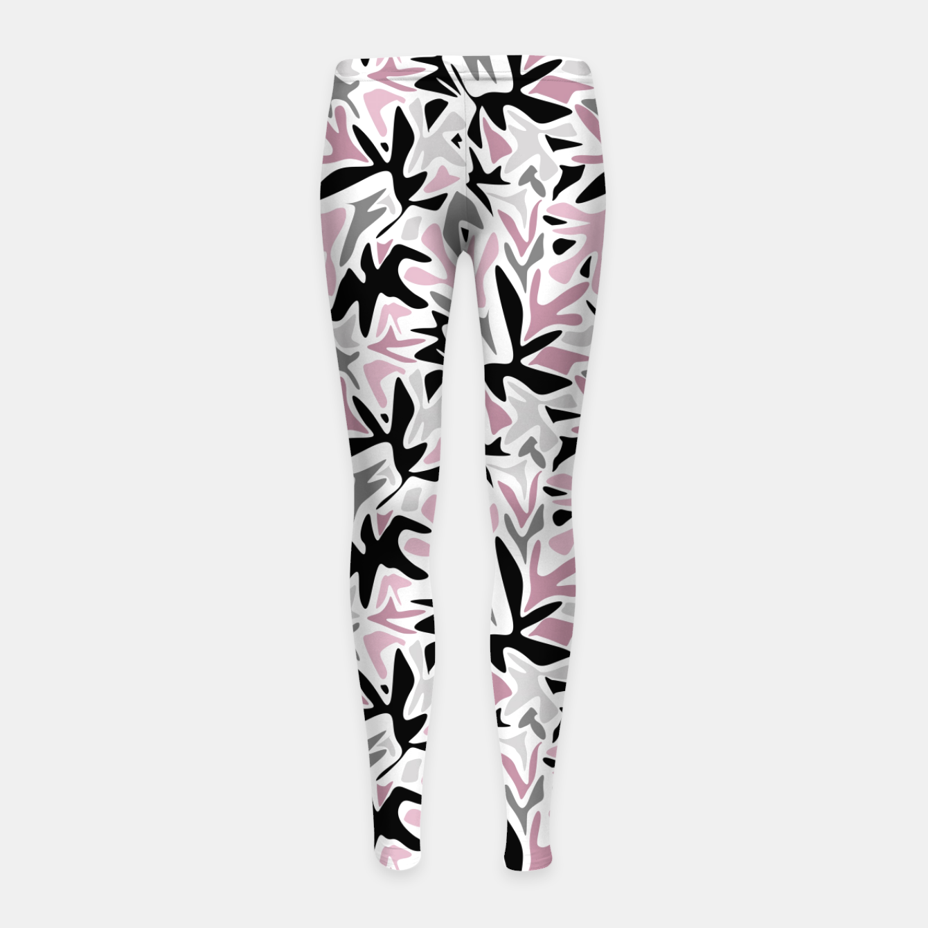 Image of abstract, daub pink, gray and pink, geometric Girl's leggings - Live Heroes