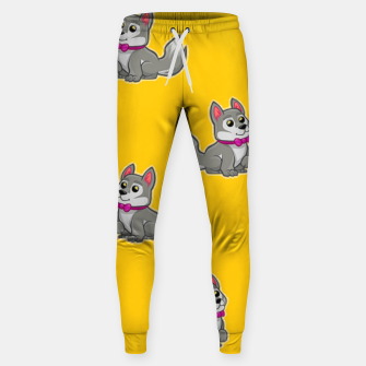 Thumbnail image of Cute gray dogs on orange Sweatpants, Live Heroes