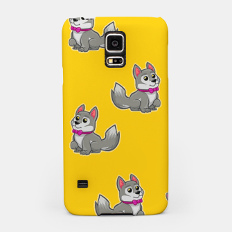Thumbnail image of Cute gray dogs on orange Samsung Case, Live Heroes