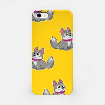 Thumbnail image of Cute gray dogs on orange iPhone Case, Live Heroes