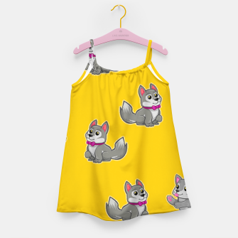 Thumbnail image of Cute gray dogs on orange Girl's dress, Live Heroes