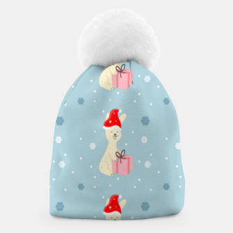 Thumbnail image of Xmas bunny on blue Beanie, Live Heroes