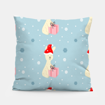 Thumbnail image of Xmas bunny on blue Pillow, Live Heroes