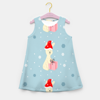 Thumbnail image of Xmas bunny on blue Girl's summer dress, Live Heroes