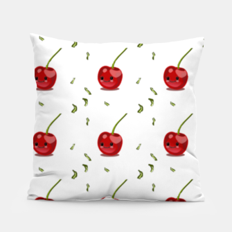 Thumbnail image of Red cherry fruit kawaii pattern Pillow, Live Heroes