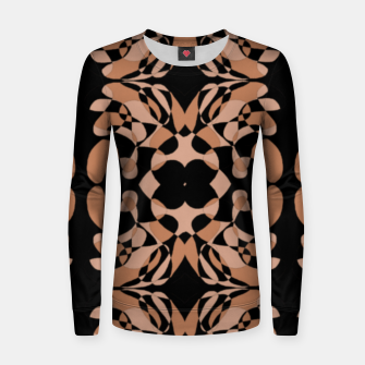 Thumbnail image of Abstract brown shapes on black Women sweater, Live Heroes