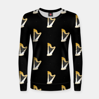 Thumbnail image of Gold harps on black Women sweater, Live Heroes