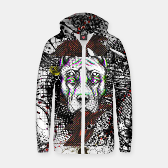 Thumbnail image of Bad Dog Glitch Zip up hoodie, Live Heroes