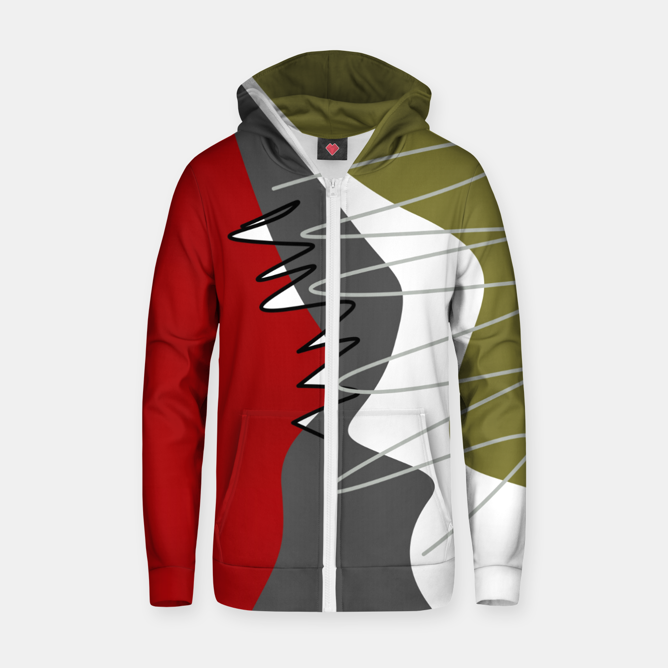 Image of abstract trendy multicolored pattern Zip up hoodie - Live Heroes