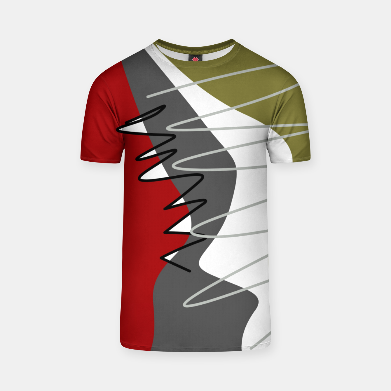 Image of abstract trendy multicolored pattern T-shirt - Live Heroes