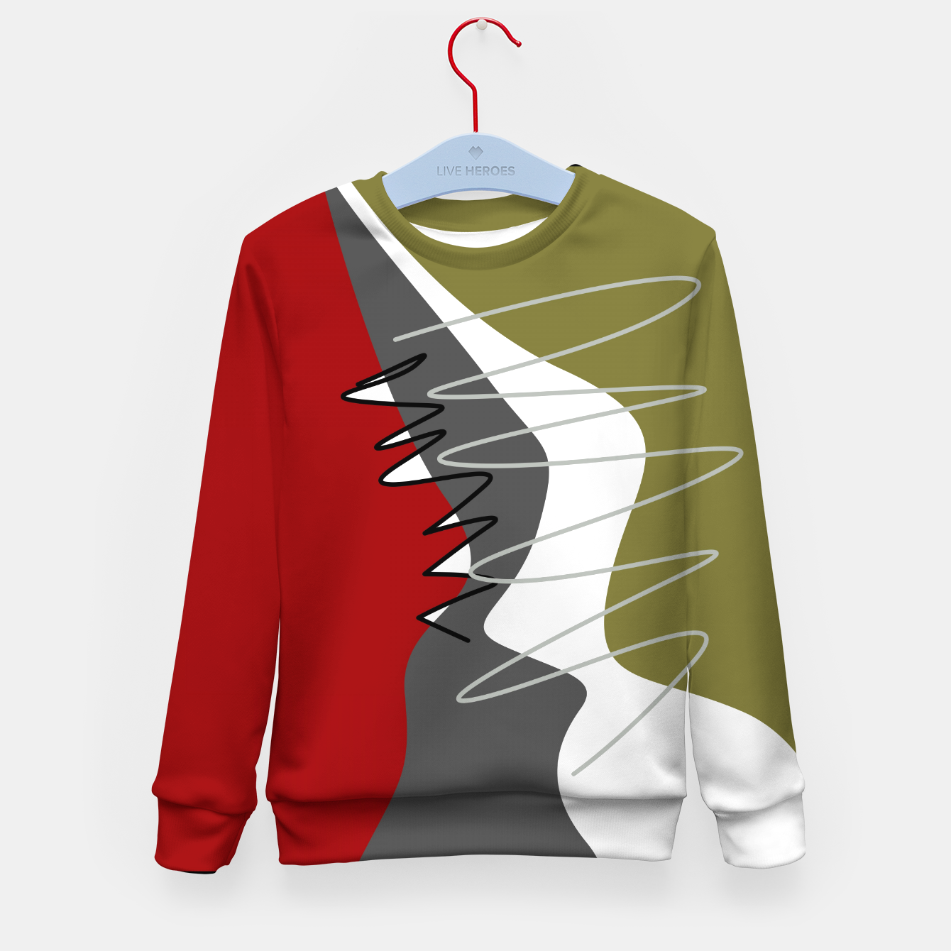 Image of abstract trendy multicolored pattern Kid's sweater - Live Heroes