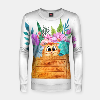 Thumbnail image of Cute Cat in a floral box Women sweater, Live Heroes