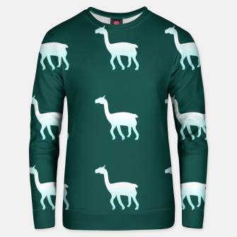 Thumbnail image of Llama on green Unisex sweater, Live Heroes