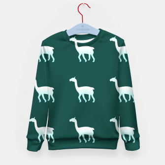 Thumbnail image of Llama on green Kid's sweater, Live Heroes