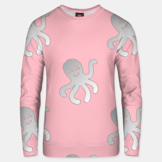 Thumbnail image of Silver octopus on pink Unisex sweater, Live Heroes