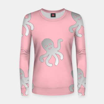 Thumbnail image of Silver octopus on pink Women sweater, Live Heroes