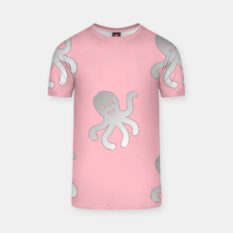 Thumbnail image of Silver octopus on pink T-shirt, Live Heroes