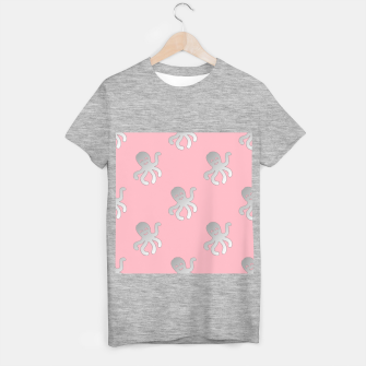 Thumbnail image of Silver octopus on pink T-shirt regular, Live Heroes