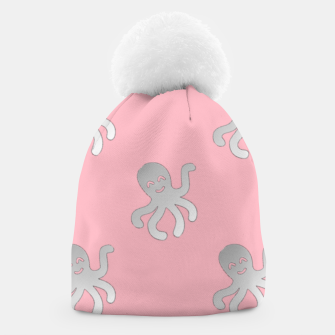 Thumbnail image of Silver octopus on pink Beanie, Live Heroes