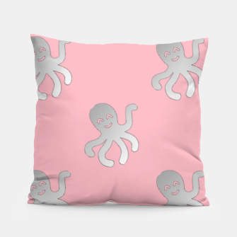 Thumbnail image of Silver octopus on pink Pillow, Live Heroes