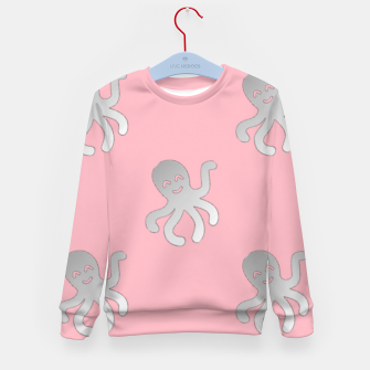 Thumbnail image of Silver octopus on pink Kid's sweater, Live Heroes