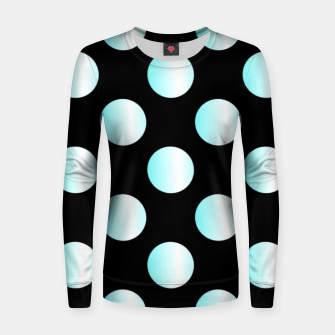 Thumbnail image of Blue dots on black Women sweater, Live Heroes