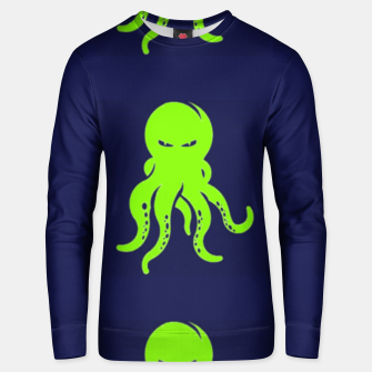 Thumbnail image of Green octopus on blue Unisex sweater, Live Heroes