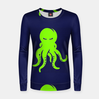 Thumbnail image of Green octopus on blue Women sweater, Live Heroes