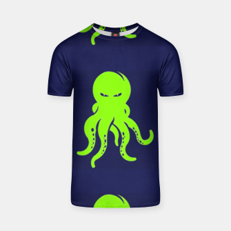 Thumbnail image of Green octopus on blue T-shirt, Live Heroes