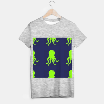 Thumbnail image of Green octopus on blue T-shirt regular, Live Heroes
