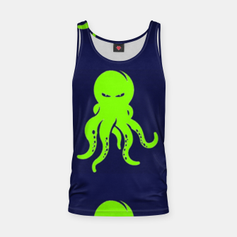 Thumbnail image of Green octopus on blue Tank Top, Live Heroes