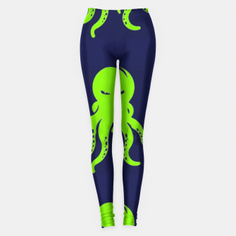 Thumbnail image of Green octopus on blue Leggings, Live Heroes