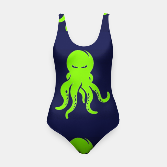 Thumbnail image of Green octopus on blue Swimsuit, Live Heroes