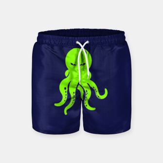 Thumbnail image of Green octopus on blue Swim Shorts, Live Heroes