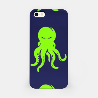 Thumbnail image of Green octopus on blue iPhone Case, Live Heroes