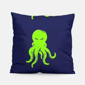Thumbnail image of Green octopus on blue Pillow, Live Heroes