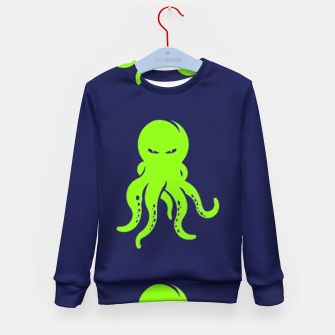 Thumbnail image of Green octopus on blue Kid's sweater, Live Heroes