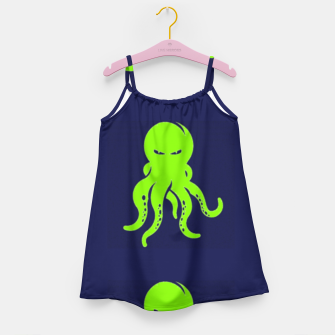 Thumbnail image of Green octopus on blue Girl's dress, Live Heroes
