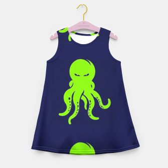 Thumbnail image of Green octopus on blue Girl's summer dress, Live Heroes
