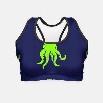 Thumbnail image of Green octopus on blue Crop Top, Live Heroes