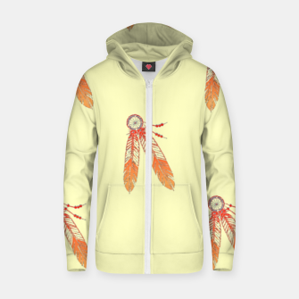 Thumbnail image of Red and orange feathers Zip up hoodie, Live Heroes