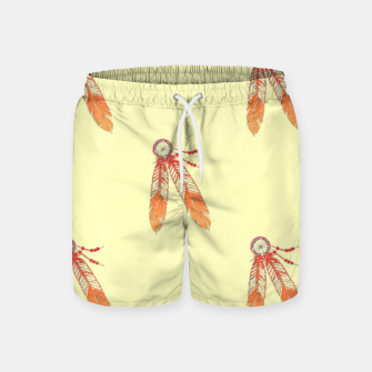 Thumbnail image of Red and orange feathers Swim Shorts, Live Heroes