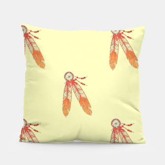Thumbnail image of Red and orange feathers Pillow, Live Heroes
