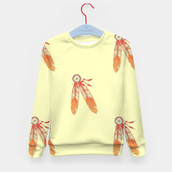 Thumbnail image of Red and orange feathers Kid's sweater, Live Heroes